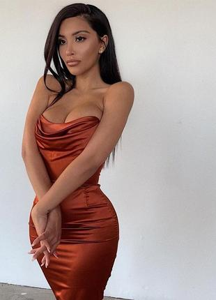 Корсетное платье атласное миди oh polly корсетна сукня