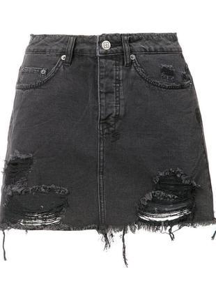 Юбка missguided 38 чёрная джинсовая трапеция рваная потороченная