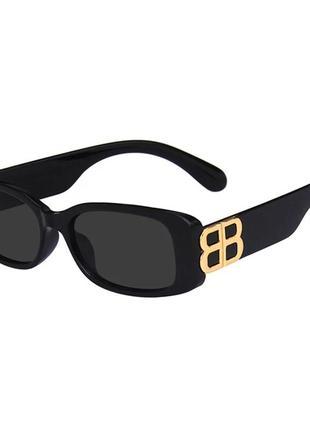 Крутые черные очки солнцезащитные узкие прямоугольные ретро тренд окуляри сонцезахисні5 фото