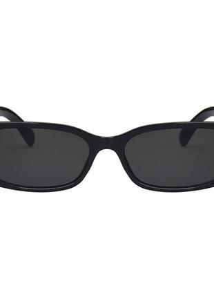 Крутые черные очки солнцезащитные узкие прямоугольные ретро тренд окуляри сонцезахисні6 фото