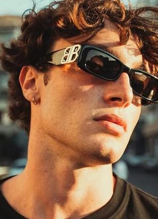 Крутые черные очки солнцезащитные узкие прямоугольные ретро тренд окуляри сонцезахисні3 фото