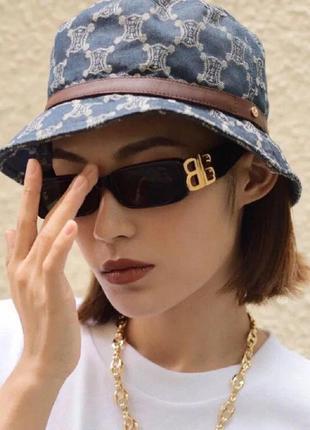 Крутые черные очки солнцезащитные узкие прямоугольные ретро тренд окуляри сонцезахисні2 фото