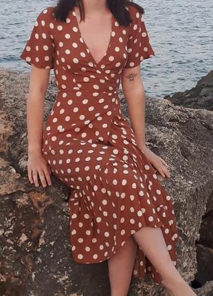 Платье миди в горох primark