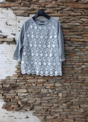 Гламурный с кружевом пуловер большого размера