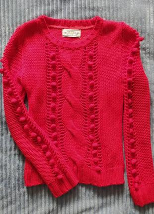 Кофта в'язана, кардиган в'язаний, червоний светр