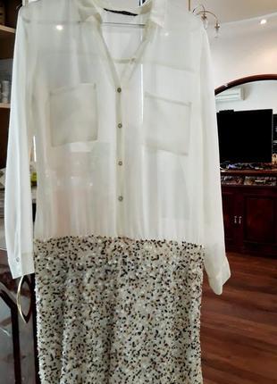 Супер платье белое комбинированное zara