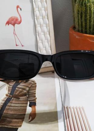 Крутые черные очки солнцезащитные узкие прямоугольные ретро тренд окуляри сонцезахисні7 фото