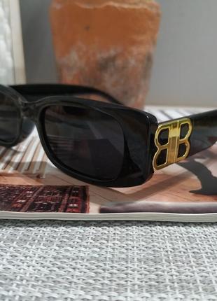 Крутые черные очки солнцезащитные узкие прямоугольные ретро тренд окуляри сонцезахисні8 фото
