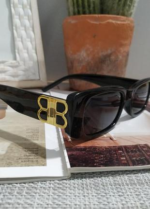 Крутые черные очки солнцезащитные узкие прямоугольные ретро тренд окуляри сонцезахисні9 фото