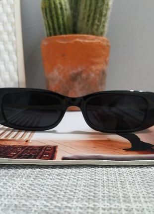 Крутые черные очки солнцезащитные узкие прямоугольные ретро тренд окуляри сонцезахисні10 фото