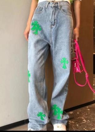 Модные брендовые женские джинсы прямого кроя