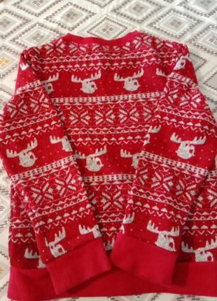 Свитер с оленями с начесом рождественский свитер