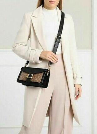 Сумка кожаная coach tabby shoulder bag 26 with signature canvas (tan black) оригинальная