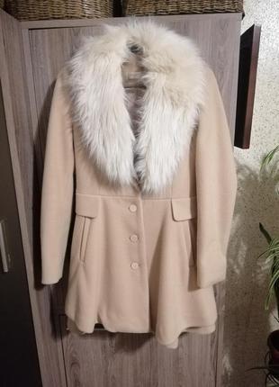 Чарівне пальтішко з хутром шерсть розмір xs-s