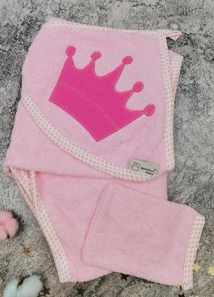 Полотенце уголок для девочки розовое с короной полотенце кутик рушник для дівчинки