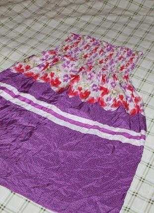 Яркое и эффектное платье-сарафан, р.l, 100% шелк, великолепное сочетание цветов