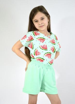 Костюм летний для девочки футболка и шорты (хлопок)