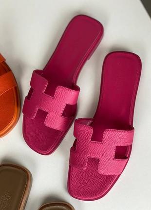 Шлепанцы женские кожаные розовые брендовые