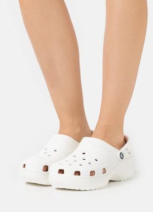 Крокс белые сабо классик средняя платформа crocs women's classic bae clog white