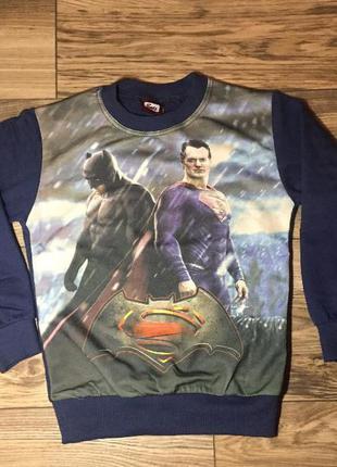 Реглан супергерои 7-8 лет, superman batman,супермен,бетмен,кофта,свитшот,