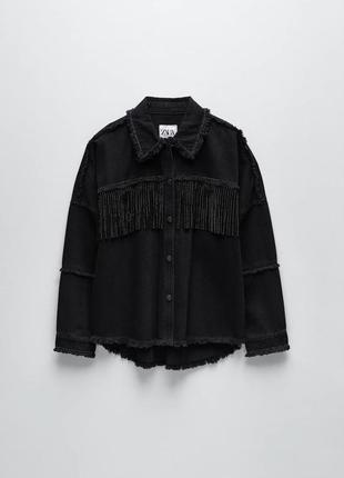 Куртка zara з бахромой