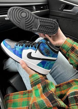 ❤ женские синие кожаные кроссовки  nike air jordan 1 retro tie die ❤