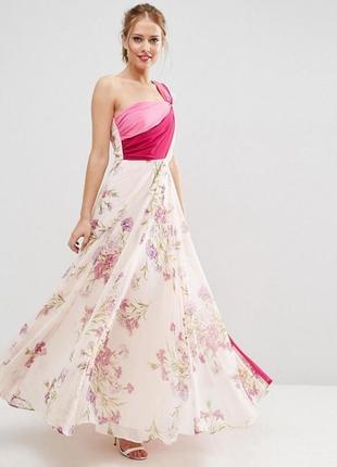 Шифоновое длинное платье в цветочный принт