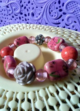 Браслет розовый с керамическими  бусинами