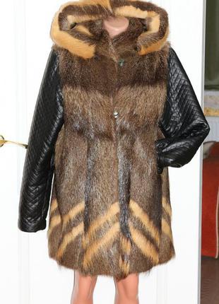 Натуральная шуба, рукава из кожама, с капюшоном, вещи в наличии💚+скидки, заходите💚