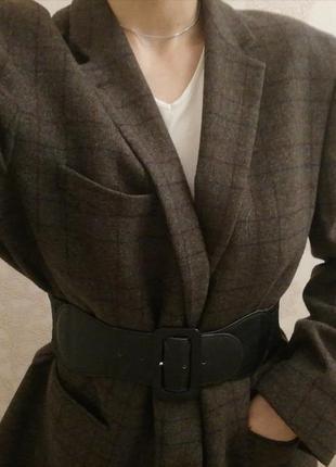 Пиджак жакет блейзер шерсть оверсайз женский в клетку коричневый длинный