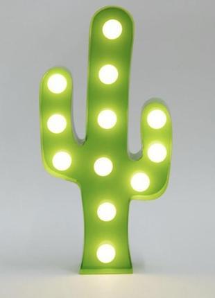 Светильник настольный ночник 3d кактус лампа