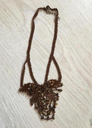 Красивое ожерелье бохо  из бисера