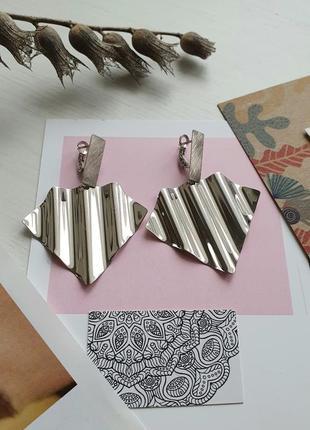 Стильные серебряные серьги, италия полная распродажа!