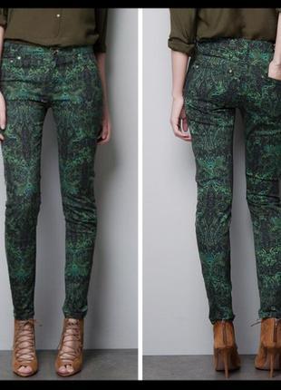 Джинсы скинни брюки zara принт премиум коллекция