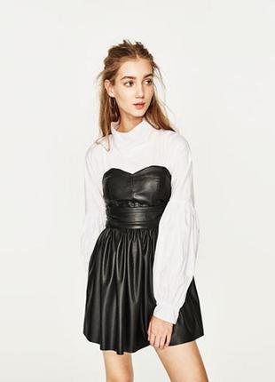 Платье бюстье маленькое чёрное платье из искусственной кожи zara