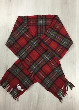 F6 шарф шерстяной в клетку клетчатый johnstons of elgin красный
