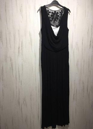 Черное трикотажное длинное платье