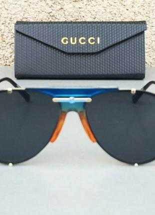 Gucci очки капли солнцезащитные черные с синим
