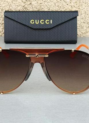 Gucci очки капли солнцезащитные коричневые с оранжевым с градиентом