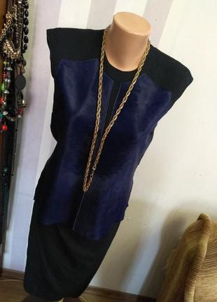 Италия  дижайнерская блуза кожа ягненка мех премиум