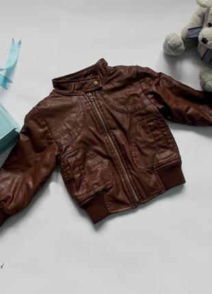 Стильная утепленная куртка с эко-кожи, 90см
