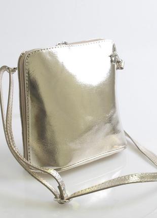 Натуральная кожаная сумочка через плече real