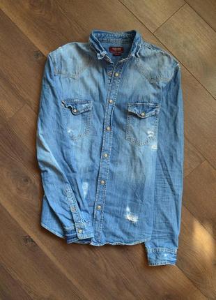 Джинсовая рубашка мужская zara