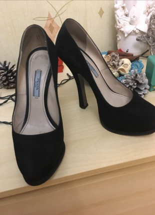 Чёрные туфли италия prada оригинал замш вечерние на высоком каблуке 24 см d64145926e2