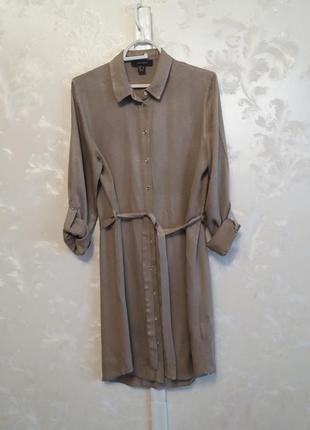 Вискозное платье-рубашка с поясом