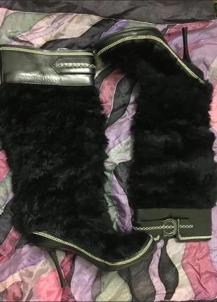 Оригинал сапоги dior чёрные удобные кожа с мехом невысокий каблук бренд