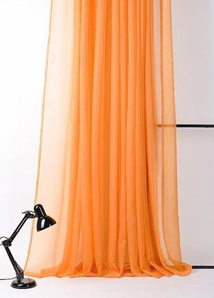 Тюль, гардина, штора из вуали оранжевая