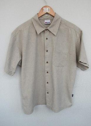 Рубашка мужская fila, летняя рубашка fila, стильная рубашка , рубашка в клетку fila
