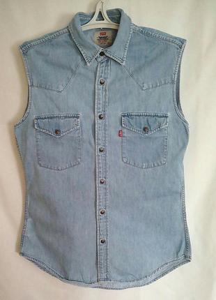 Джинсовая рубашка без рукава