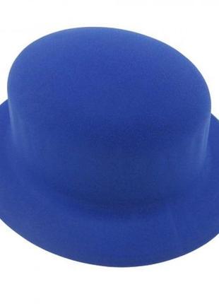 Шляпа синяя маскарадная флок - цена за 3 штуки